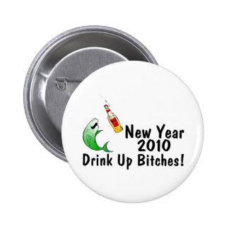 Pescados y cerveza del Año Nuevo 2010 Pins