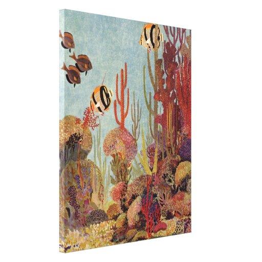 Pescados y coral tropicales del vintage en el impresión en tela