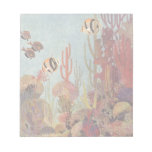 Pescados y coral tropicales del vintage en el océa bloc de papel