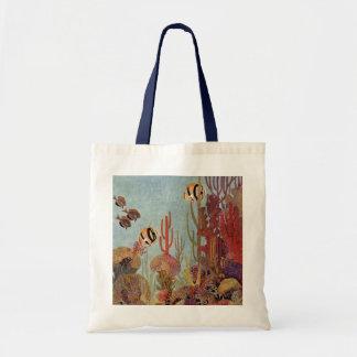 Pescados y coral tropicales del vintage en el océa bolsas de mano