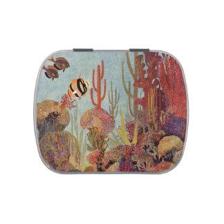 Pescados y coral tropicales del vintage en el océa latas de dulces