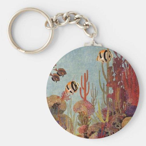 Pescados y coral tropicales del vintage en el océa llaveros
