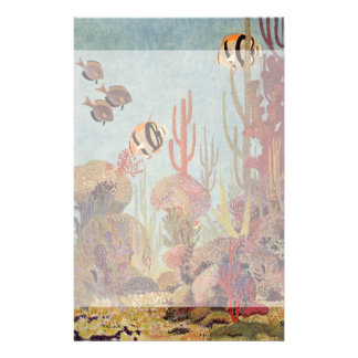 Pescados y coral tropicales del vintage en el océa papelería de diseño