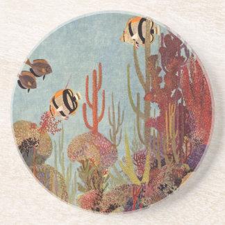 Pescados y coral tropicales del vintage en el océa posavasos manualidades