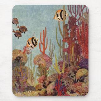 Pescados y coral tropicales del vintage en el océa alfombrilla de ratones
