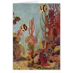 Pescados y coral tropicales del vintage en el océa felicitacion