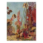 Pescados y coral tropicales del vintage en el océa postales