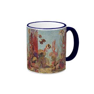 Pescados y coral tropicales del vintage en el océa tazas de café