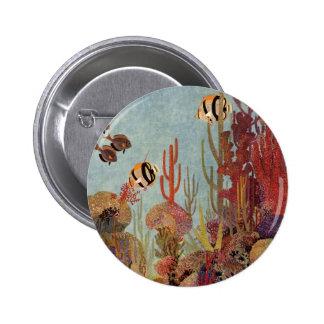 Pescados y coral tropicales del vintage en el chapa redonda 5 cm