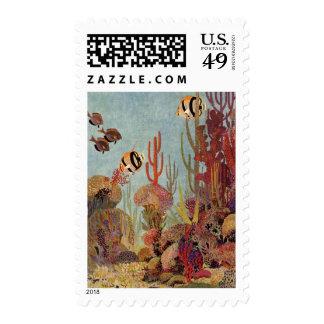 Pescados y coral tropicales del vintage en el sellos