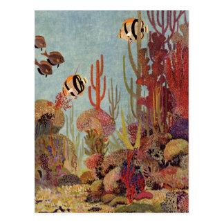 Pescados y coral tropicales del vintage en el postal