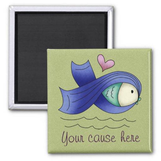 Pescados y corazón azules de la cinta de la concie imán de frigorífico