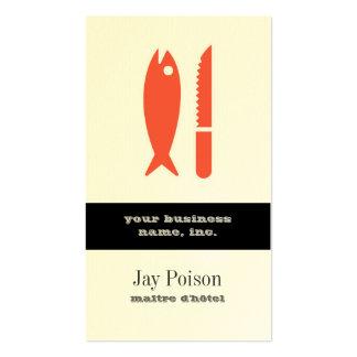 Pescados y cuchillo tarjetas de visita
