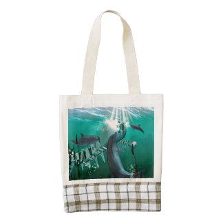 Pescados y delfínes mecánicos bolsa tote zazzle HEART