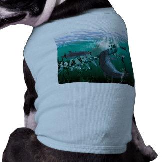 Pescados y delfínes mecánicos playera sin mangas para perro
