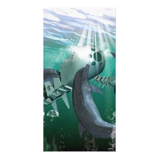 Pescados y delfínes mecánicos tarjeta fotografica personalizada