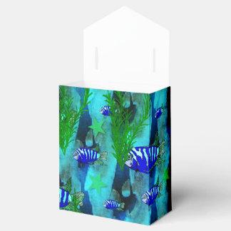 Pescados y estrellas azules rayados caja para regalos de fiestas