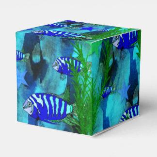Pescados y estrellas azules rayados cajas para regalos
