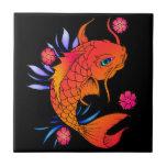 pescados y flores del koi azulejos