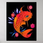 pescados y flores del koi poster