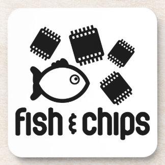 Pescados y microprocesadores posavasos de bebida