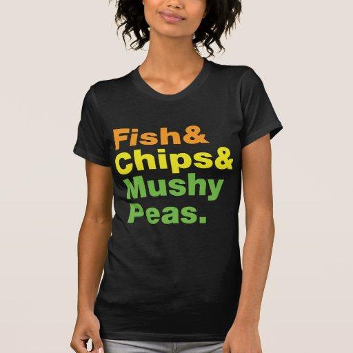 Pescados y microprocesadores y guisantes fofos camiseta