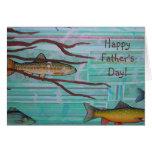 Pescados y raíces del día de padre tarjetón