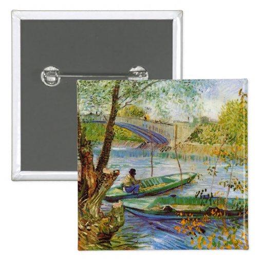 Pescando en la primavera, Vincent van Gogh (F354) Pin Cuadrado