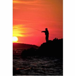 Pescando en la puesta del sol, cabeza de Hockamok, Fotoescultura Vertical