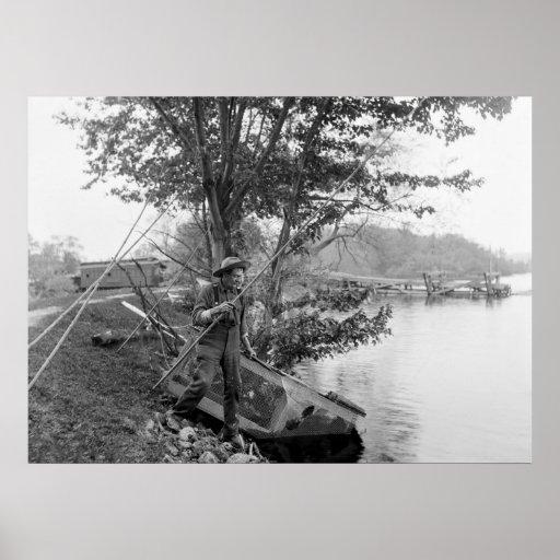 Pescando en New Jersey, 1900 Póster