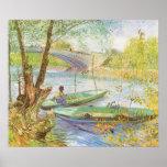 Pescando en primavera, Van Gogh, impresionismo del Poster