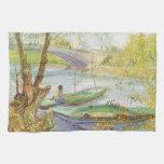 Pescando en primavera, Van Gogh, impresionismo del Toallas De Cocina