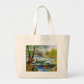 Pescando en primavera, Vincent van Gogh. Fis Bolsa Tela Grande