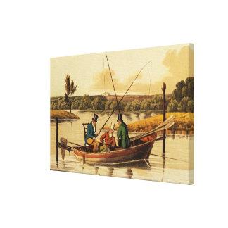 Pescando en una batea, aquatinted por I. Clark, pu Lona Estirada Galerias