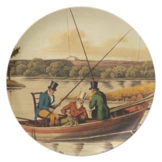 Pescando en una batea, aquatinted por I. Clark, pu Plato De Comida