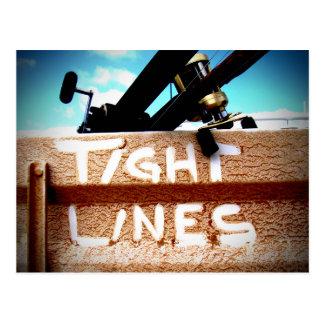 Pescando las líneas apretadas carrete de la pesca tarjeta postal