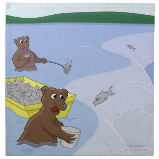 Pescando los osos - servilletas de color salmón de
