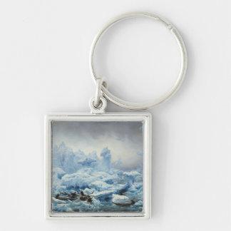 Pescando para la morsa en el Océano ártico, 1841 Llavero Cuadrado Plateado