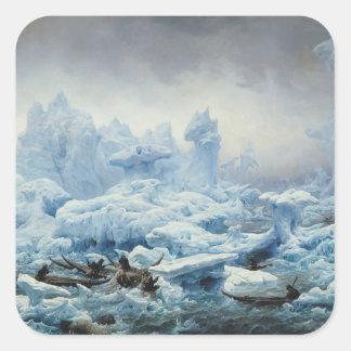Pescando para la morsa en el Océano ártico, 1841 Pegatina Cuadrada