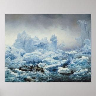 Pescando para la morsa en el Océano ártico, 1841 Póster