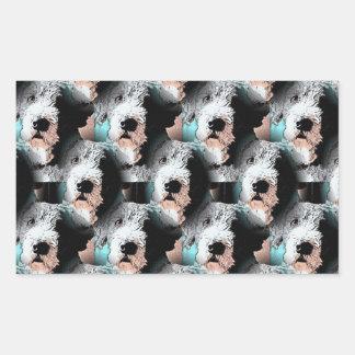 Pescuezo el diseño del perro pegatina rectangular