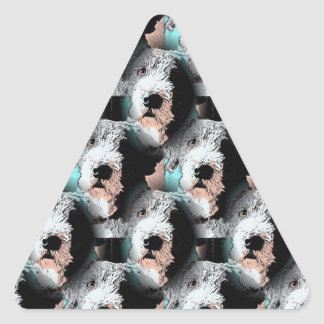 Pescuezo el diseño del perro pegatina triangular