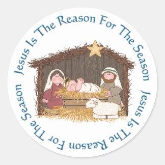 Pesebre del navidad/razón de Jesús Pegatinas Redondas