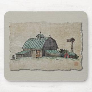 Pesebre y molino de viento del maíz del granero mouse pad