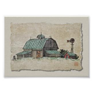 Pesebre y molino de viento del maíz del granero impresiones fotograficas