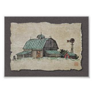 Pesebre y molino de viento del maíz del granero fotografía