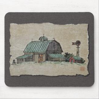 Pesebre y molino de viento del maíz del granero tapete de ratón