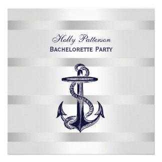 Peso azul náutico BG Bachelorette SQ de la plata d Invitacion Personal