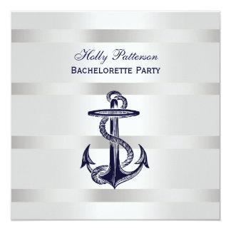 "Peso azul náutico BG Bachelorette SQ de la plata Invitación 5.25"" X 5.25"""