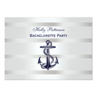 "Peso azul náutico BG H Bachelorette de la plata Invitación 5"" X 7"""